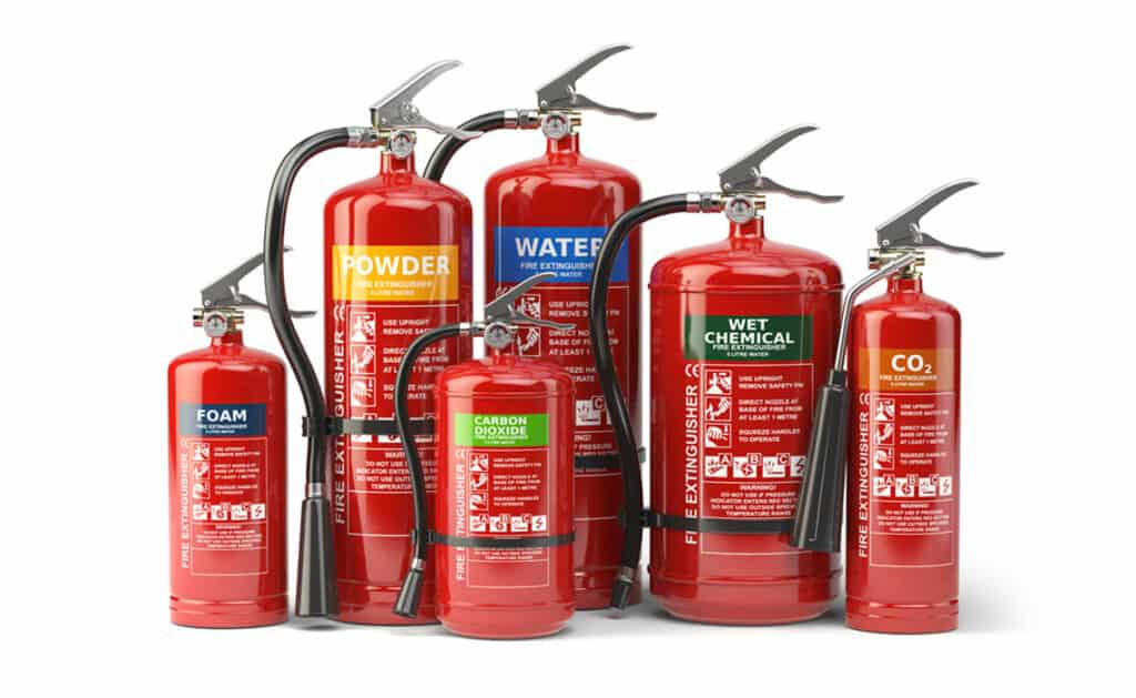 fire extinguishers types stored on boat
