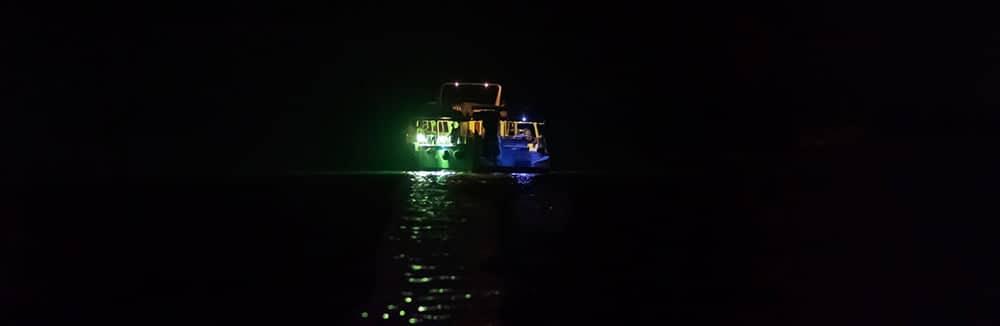 fishing boat at night