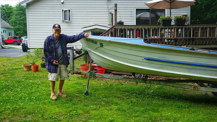 man with his boat trailer